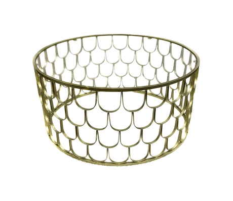 Iron scallop coffee table gold