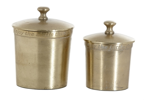 Pot With Lid Small Mat Gold Enjoy