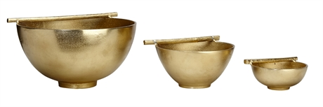 Bowl With Bar Raw Gold