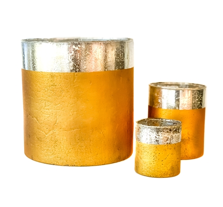 Gold glass with Silver rim