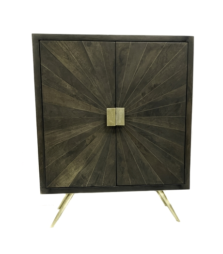 Wooden tall cabinet with brass sunburst