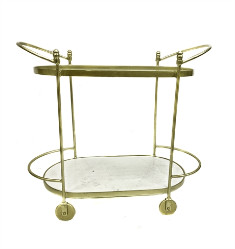 Trolley Oval shape Gold Marble/Glass top