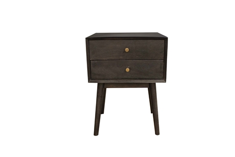 Mid Century Sidetable w/2 drawer Blast Black