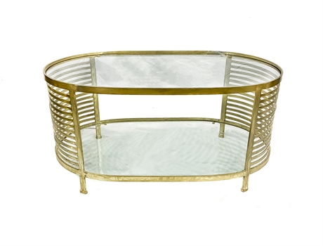 Iron Striped oval Coffee Table clear Glass