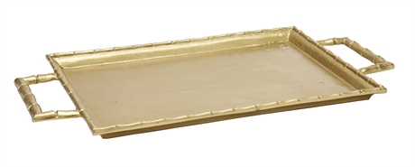Tray Gold Finish 2 Handles 54X29Cm