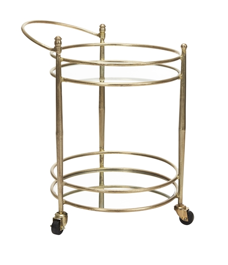 Iron round trolley gold and mirror