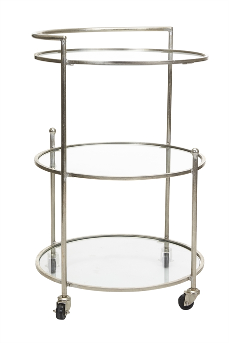 Iron Trolley 3 Ring Glass Shelves silver