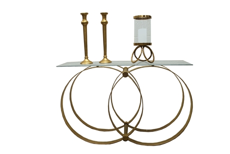 Iron twin ring console w/glass top