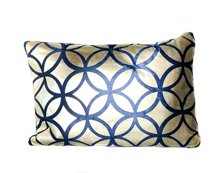 Circle gold blue pillow