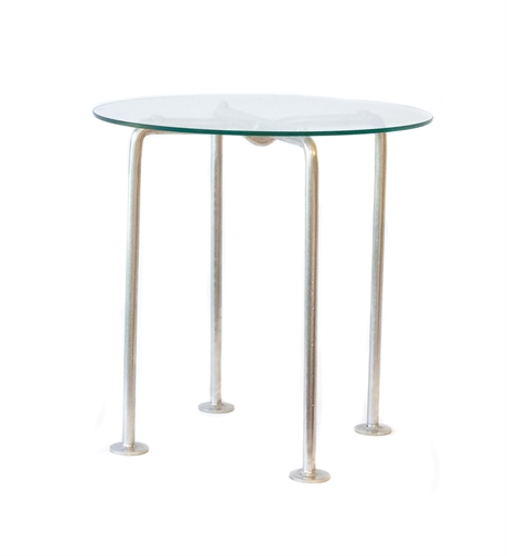 Iron table legs glass top brass