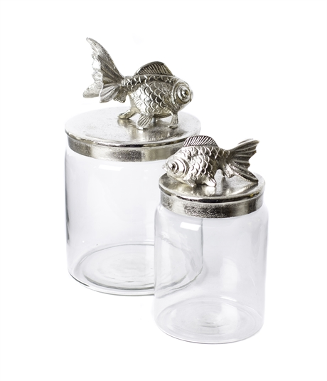 Glas jar w/fish S raw nickle