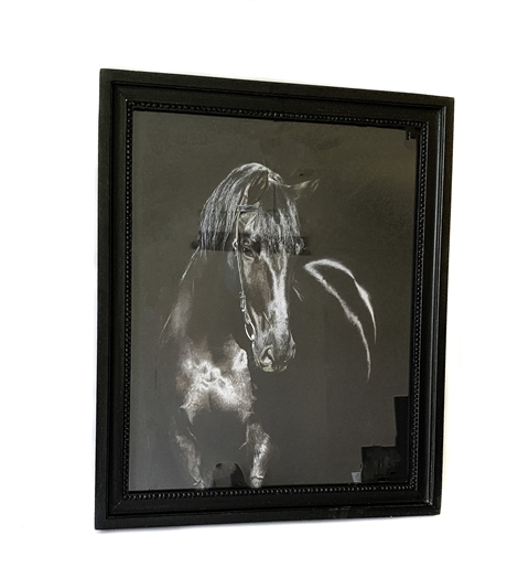 Black Horse Photo Framed