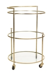 Iron Trolley 3 Ring Glass Shelves Gold